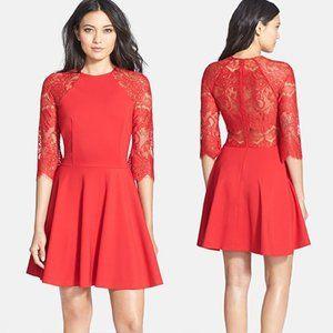 BB Dakota Yale Lace Panel Fit & Flare Dress Red XS